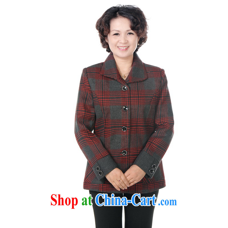 To Simitis 2014 spring new and female, older women lapel cardigan tartan Tang jackets Z - indeed, the rain grid red XXXXL