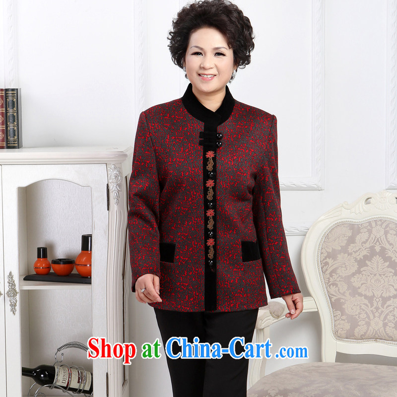 To Simitis 2014 spring new women in older mothers with flip style cardigan Tang jackets Y - FENG yen Tang woolen coat the color XXXXL