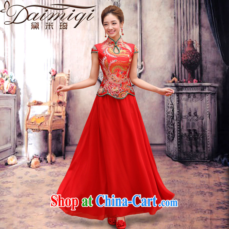 Diane M Qi dragon robe red improved retro bridal dresses wedding dresses serving toast wedding short-sleeve bridal replacing two-piece long cheongsam red S