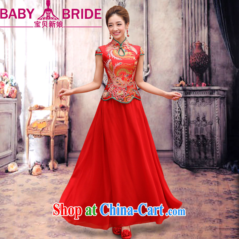 Baby bridal long gown red improved retro bridal dresses wedding dresses the wedding toast wedding service wedding short sleeve bridal replacing long cheongsam dress two-piece red XL