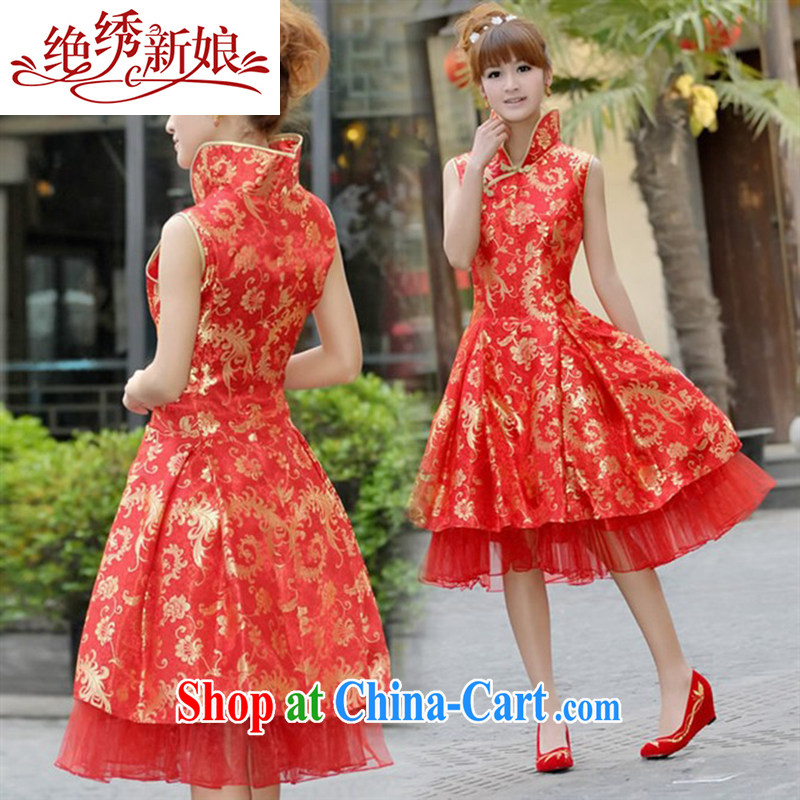 There is embroidery bridal improved stylish summer dresses QP 018 red XL Suzhou shipping
