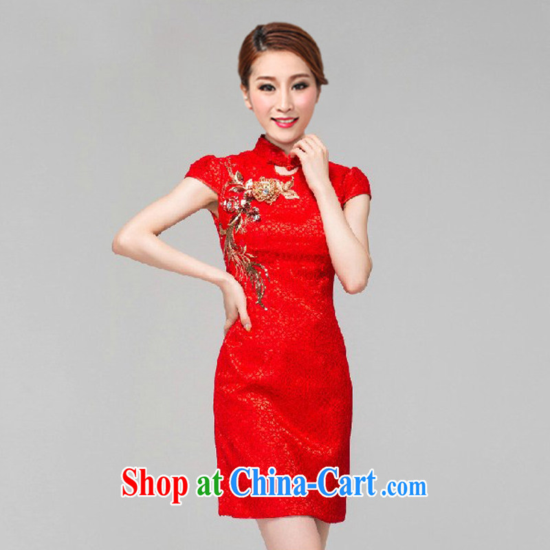 Elections to the payment as soon as possible, a quiet red bridal dresses wedding toast clothing retro embroidery take short improved cheongsam-Noble 6616 red XL
