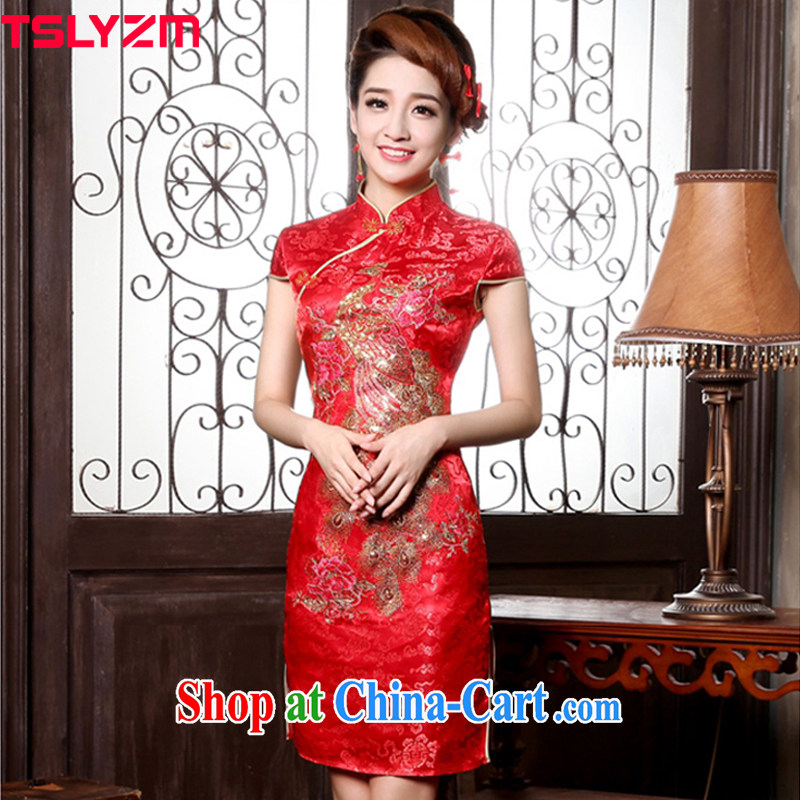 Tslyzm bridal dresses wedding red short-sleeve toast clothing retro short Openwork embroidery cheongsam dress Bridal Fashion improved cheongsam dress red M