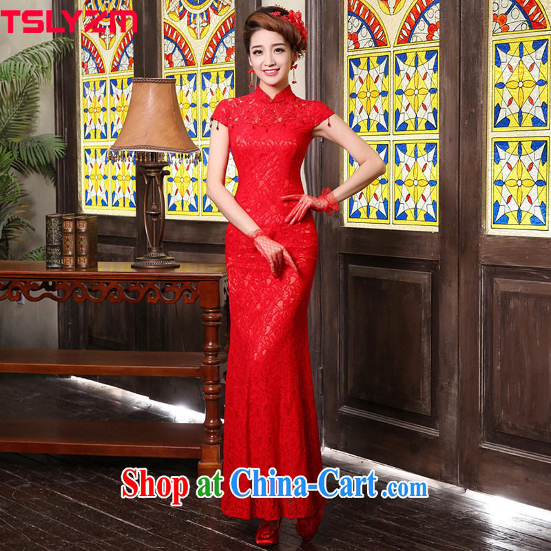 Tslyzm bridal wedding service toast clothing retro lace long 2015 new spring and summer fashion Back Door Service crowsfoot cultivating joyful improved cheongsam dress red M