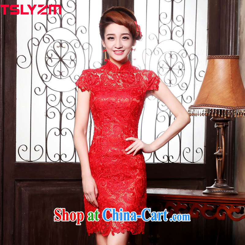 Toast Tslyzm Service Bridal wedding dress improved cheongsam dress short summer 2015 new water-soluble lace beauty graphics thin antique Chinese back door service female Red short-sleeved short L