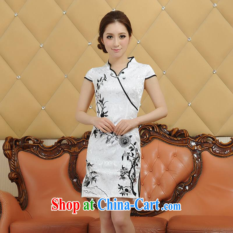 ADDIS ABABA, Ms Elsie Leung at the 2015 spring and summer new and exquisite embroidery, classic and elegant qipao Q 05,660 white XXL