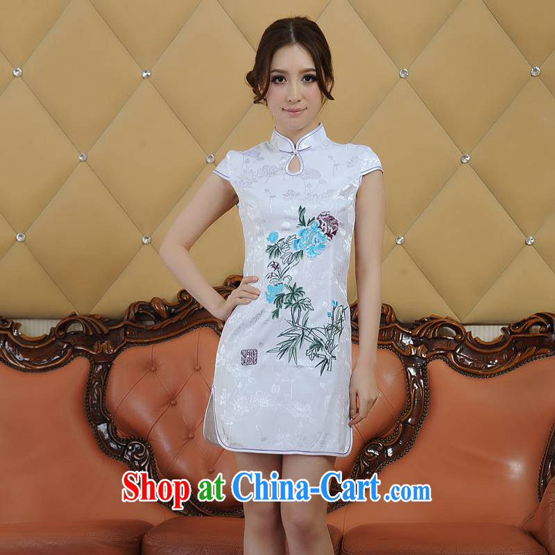 ADDIS ABABA, Ms Elsie Leung's summer 2015 new products, exquisite embroidery retro short-sleeved dresses qipao Q 06,886 white XXL