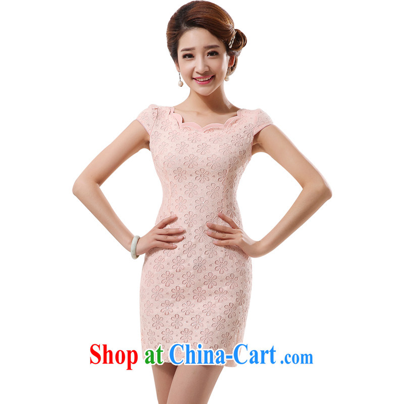 Morning love 2014 summer new improved stylish retro short cheongsam lace daily pink white 4284 meat pink XXL