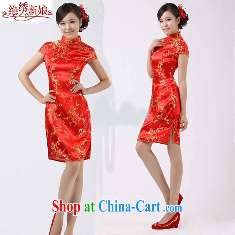 There is embroidery bridal bridal red dresses short wedding evening dress uniform toast QP 36 red XS Suzhou shipping