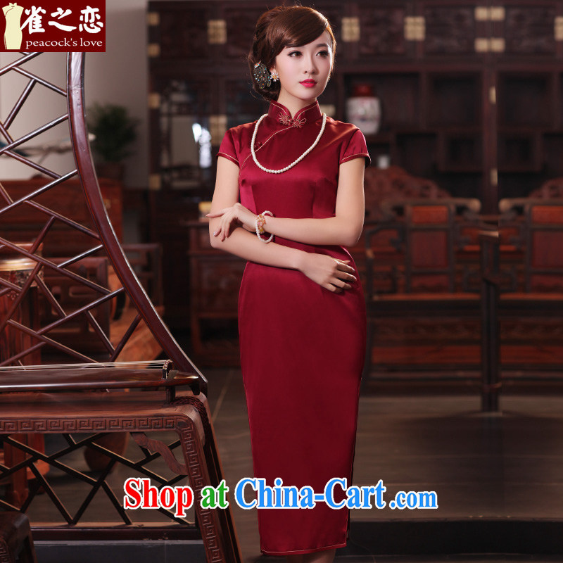 Birds of the land had been Xuan 2015 spring new short-sleeved long Silk Cheongsam QD 440 dark red XXL