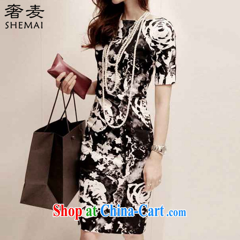 Extravagance Mak 2015 summer new Korean package and long skirt high waist graphics thin dresses sweet stamp beauty style cheongsam 7728 black M