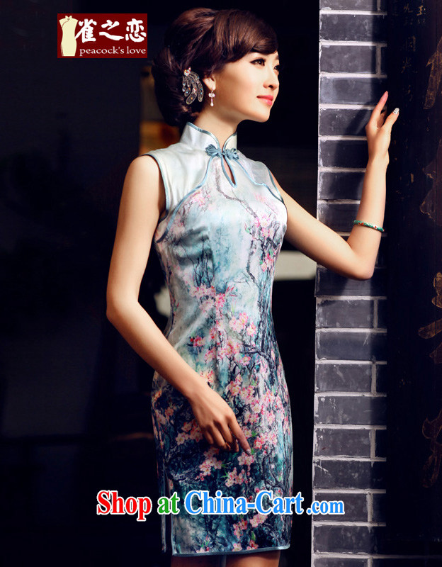 Bird lovers of national spread spring 2015 the new improved stylish sleeveless Silk Cheongsam QD 438 figure XXL