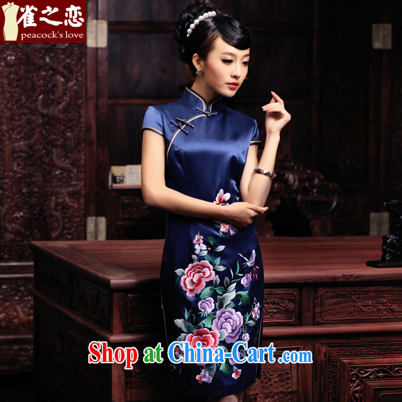 Birds love it's 2015 spring new short-sleeved hand embroidery and heavy Silk Cheongsam QD 444 blue L - pre-sale 20 days