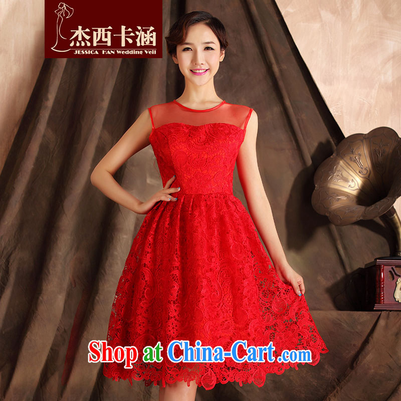 Jessica covers 2014 new bridal dresses lace short red improved bows clothes wedding dress 7016 red M