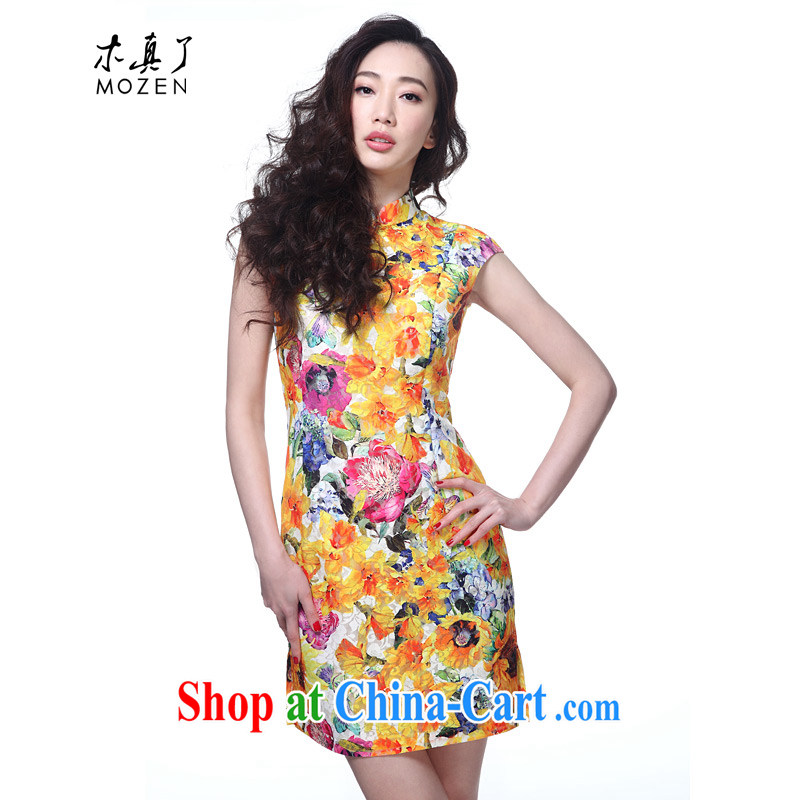 Wood is the cheongsam dress summer 2015 new Chinese style lace short cheongsam dress summer 42,722 12 deep yellow L