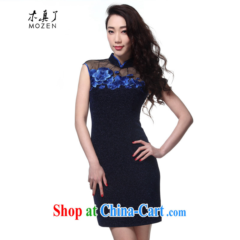 Wood is really the Chinese summer 2015 new women with elegant embroidery Chinese Dress knitted cheongsam dress 32,379 10 dark blue M