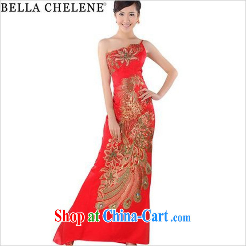 Morning, 2014 new summer fashion improved retro long cheongsam red marriages embroidery cheongsam dress GP 0253 green tail, XXL