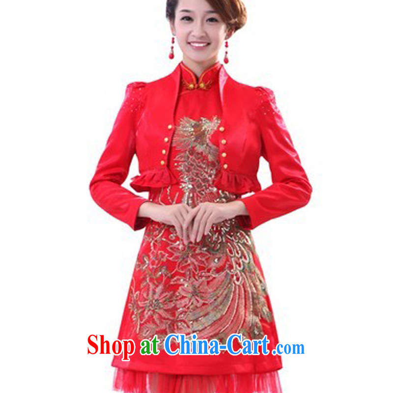 Special offer package mail 2014 new short marriage, antique dresses winter long-sleeved warm bride toast serving red dress AGP 0331 red XXL