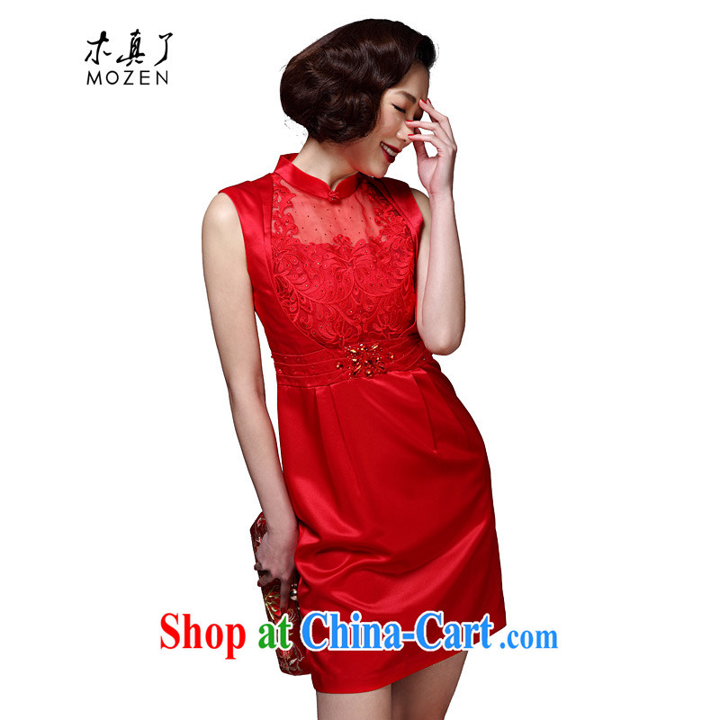 Wood is really the 2015 spring and summer new Autumn with Openwork bridal toast clothing cheongsam dress dresses package mail 42,742 04 red XXL _A_