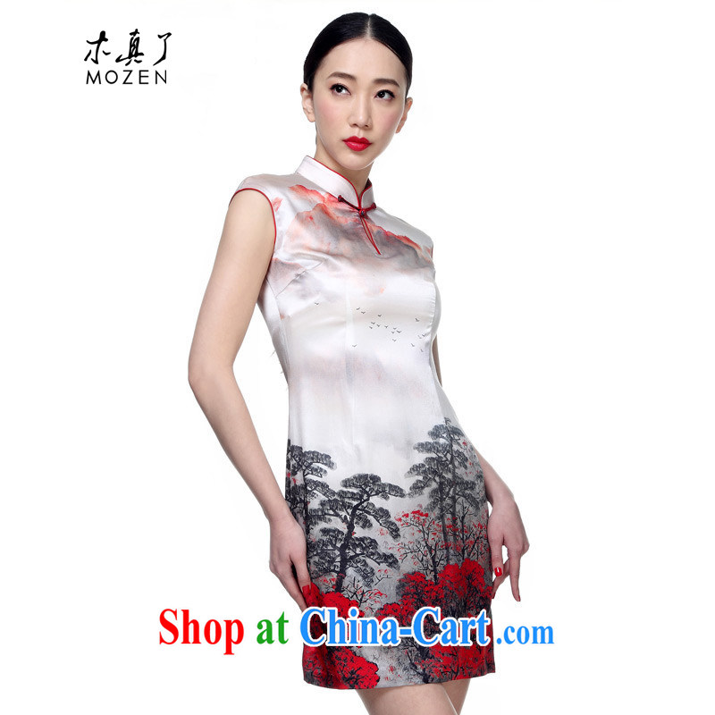 Wood is really a summer 2015 new elegant silk Ethnic Wind short cheongsam dress package mail 42,743 07 light gray XXL _A_
