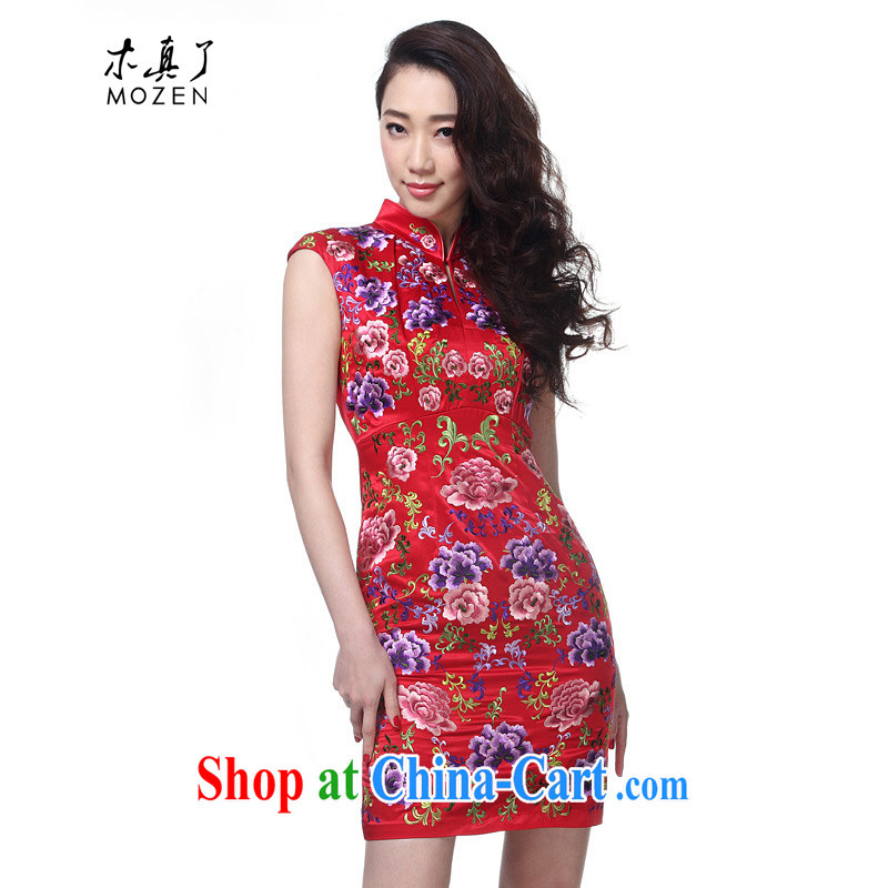 Wood is really the 2015 spring and summer new embroidered improved cheongsam beauty dress girls dress 04 42,755 red XXL B _ _