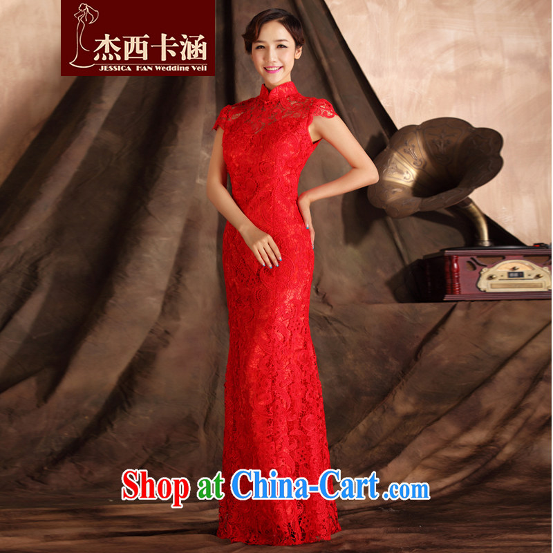 Jessica covers 2014 new dresses short-sleeved lace beauty crowsfoot long marriages served toast 7015 red XL
