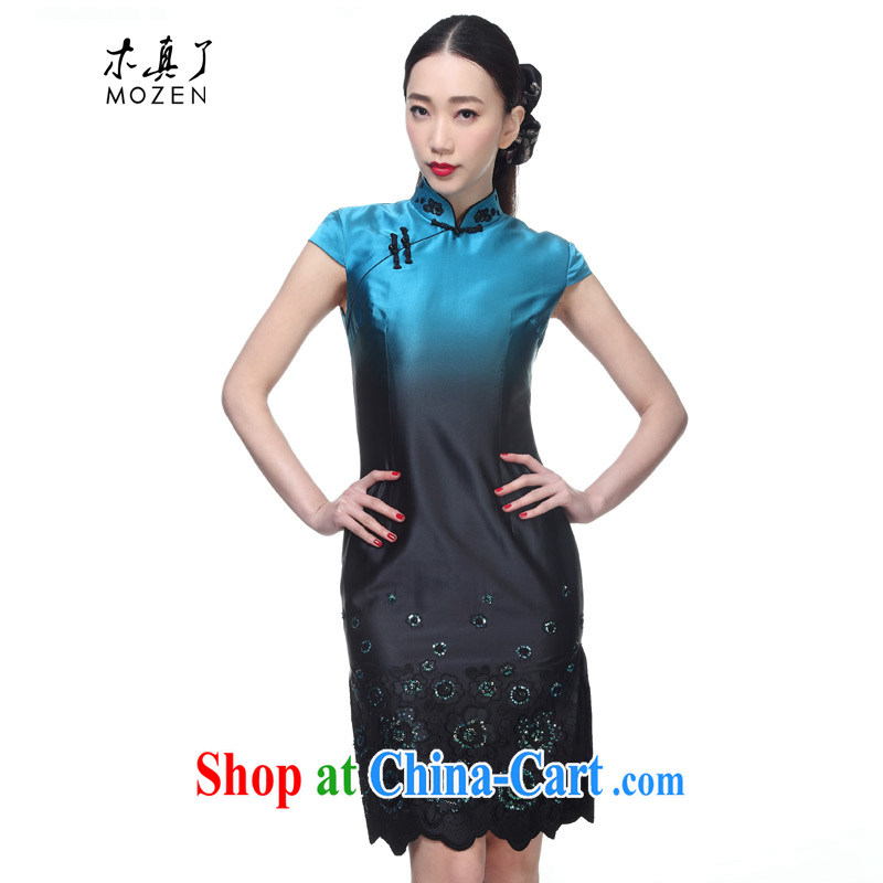 Wood is really the MOZEN 2015 new female short-sleeve elegant silk embroidery cheongsam short cheongsam package mail 00,962 11 light blue XXL