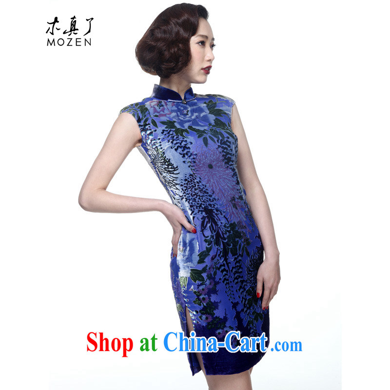 Wood is really the 2015 spring and summer new short velvet boutique cheongsam Chinese beauty dresses dress package mail 00,972 10 blue XXL