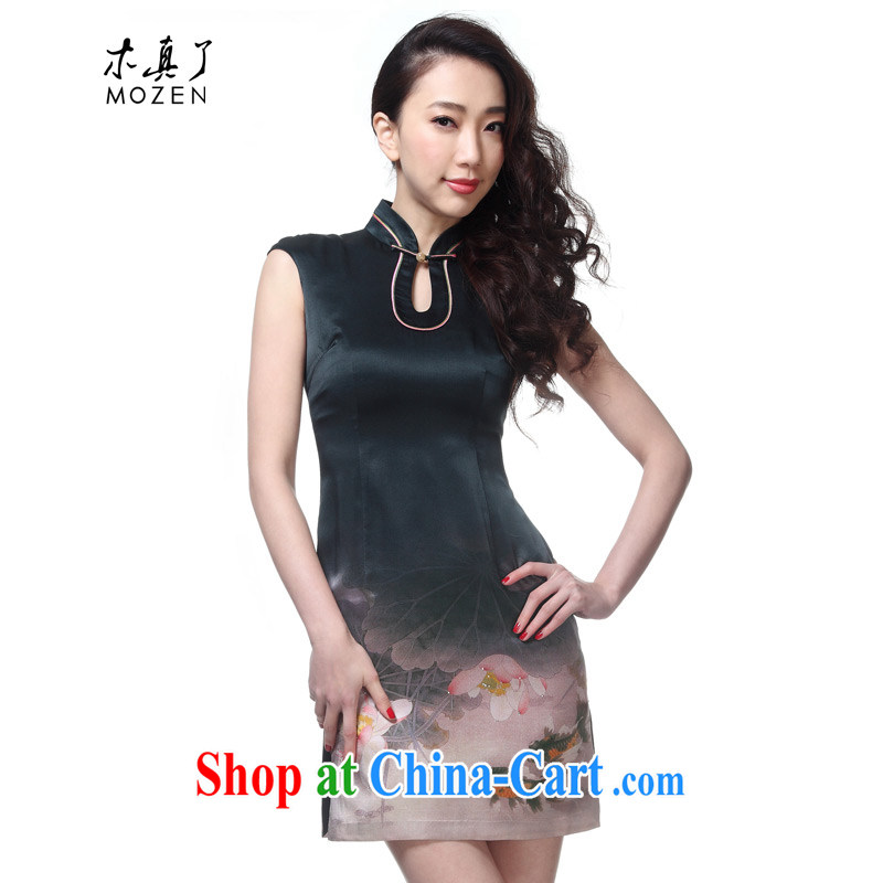 Wood is really the 2015 new female Chinese elegant piping silk ethnic wind cheongsam dress package mail 11,457 07 gray goldfish XXL