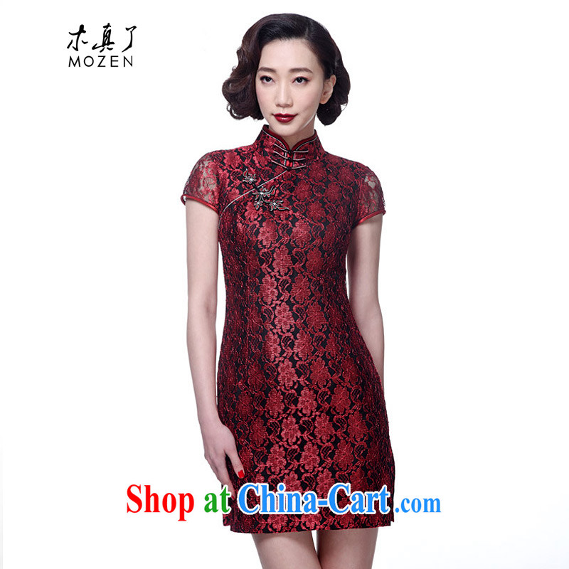 Wood is really the 2015 new Chinese style lace short cheongsam Chinese dresses girls dresses package mail 21,815 04 dark red XXL