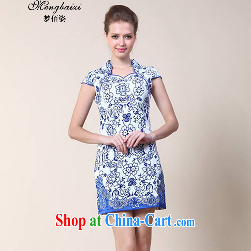 Let Bai colorful 2015 new summer blue and white porcelain stamp Chinese improved stylish retro short cheongsam dress QP 034# blue XL