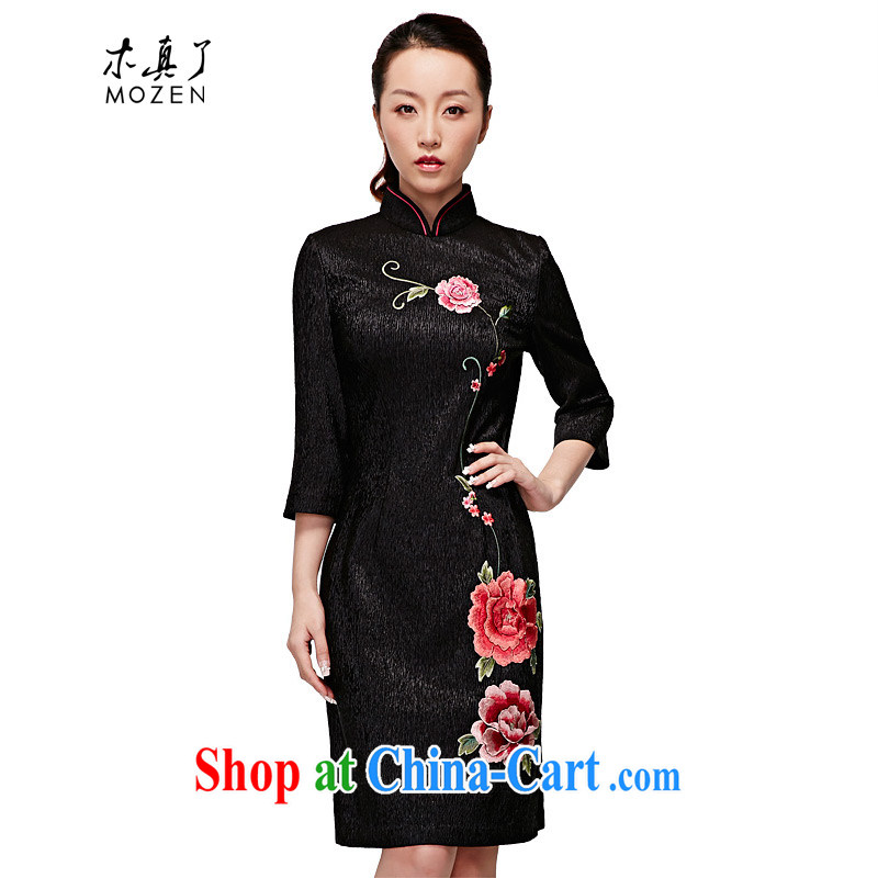 Wood is really the 2015 spring and summer new embroidery, short dresses 7 dresses cuff 22,221 01 black XXL