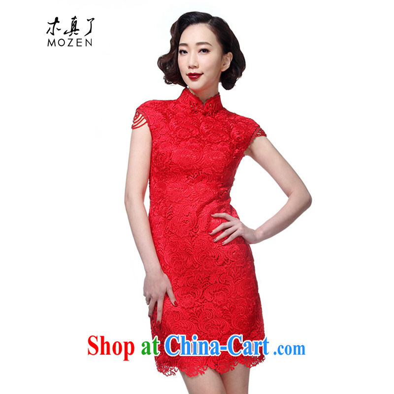 Wood is really the 2015 spring and summer new wedding dress lace bridal short cheongsam 32,440 04 deep red XL