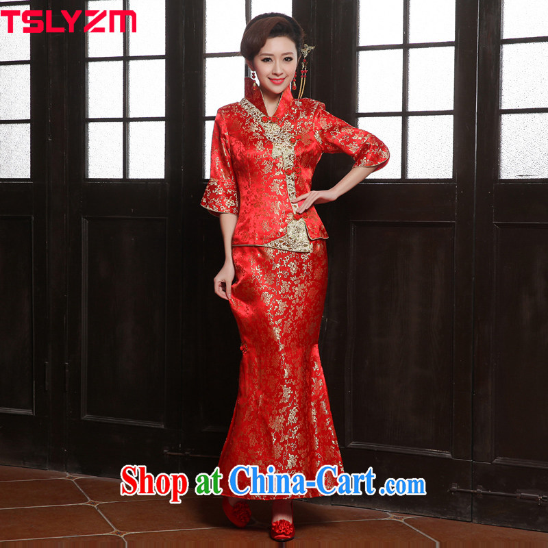 Angel, Mrs Carrie Yau, 2015 in accordance with new spring and summer fashion bridal wedding dresses small Fengxian bridal tea toast use skirt dresses Chinese Dress crowsfoot long evening dress red XXL