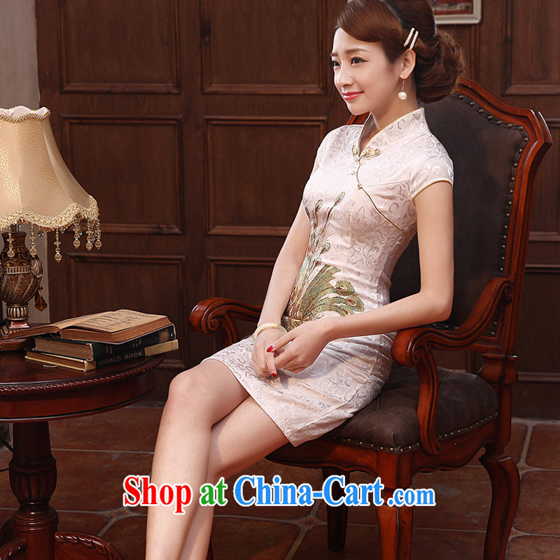 Early Morning, special 2014 summer new, improved Stylish retro short cheongsam-pink White fine tapestry Bong GP 3350 white Kim Bong-L