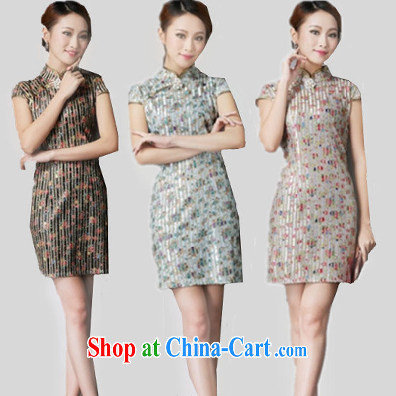 _The 2014 as soon as possible new show annual marriage dresses retro improved fancy toast serving daily short cheongsam dress 6631 black suit XL