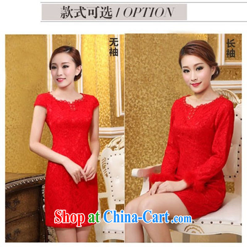 Elections to the payment as soon as possible bridal wedding dress retro improved stylish summer short, red bows clothes qipao cheongsam dress 6636 red short-sleeved XXL