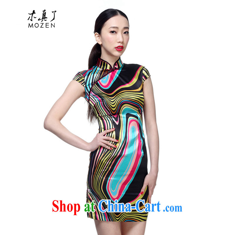 Wood is really the 2015 spring and summer new stylish emulation, Striped Short cheongsam 01,100 01 bars XXXL