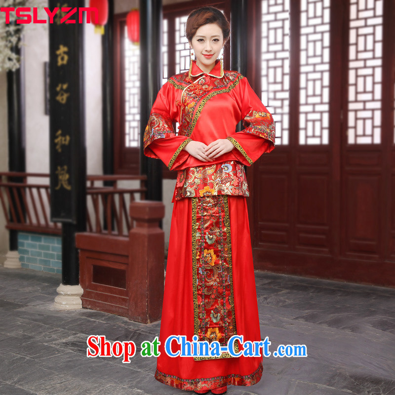 The angels, according to bridal wedding dress uniform toast, Sau Wo service-service-soo kimono show reel with Bong-winning use Phoenix Chinese Dress costumes Chinese marriage clothes red L