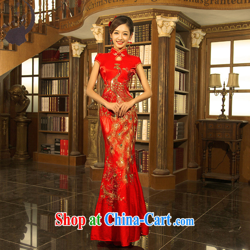 Dream Of Days married cheongsam Chinese retro sexy crowsfoot cultivating the Snap short-sleeved long cheongsam Q 8631 red L 2.1 feet waist