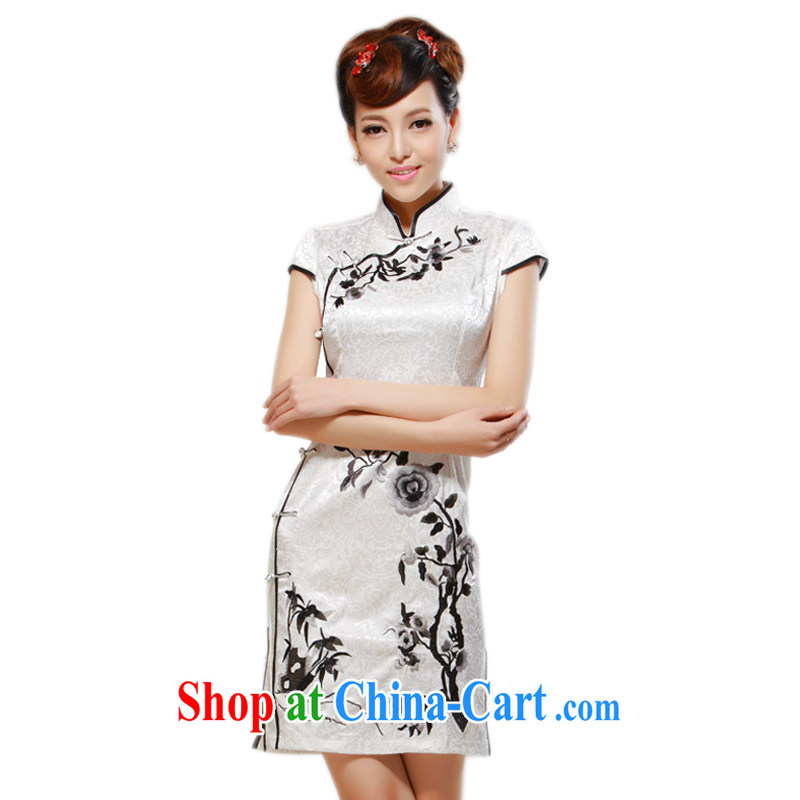 once and for all silence the cheongsam summer 2014 stylish new retro painting embroidery daily leisure cultivating cheongsam dress white 2XL