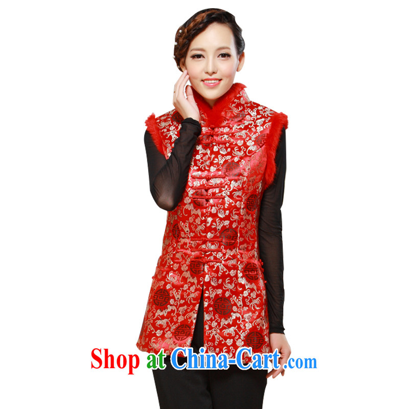 once and for all silence the winter, the older Chinese women quilted large code rabbit hair vest jacket comfortable jacket red 4XL