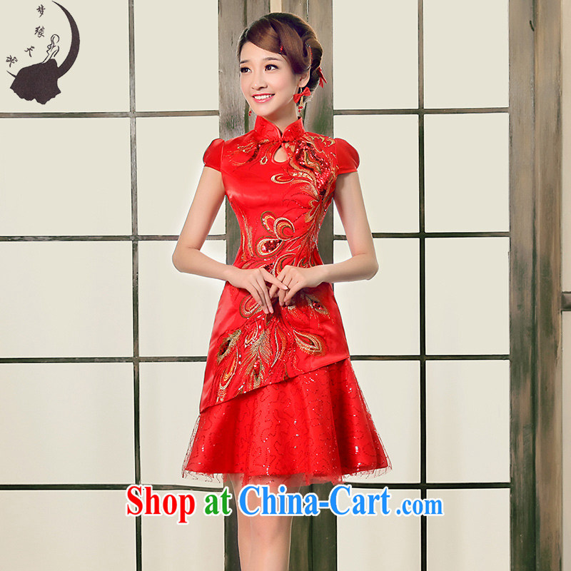 Dream of the day 2015 improved cheongsam summer stylish short, short-sleeved simple toast service back to the cheongsam dress Q summer 8660 red L 2.1 feet waist
