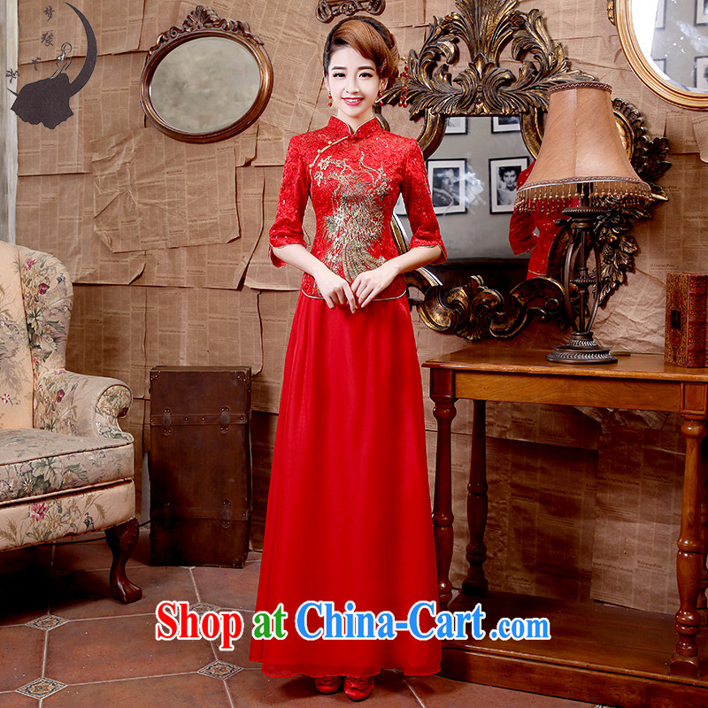 Dream of the day 2015 long, 7 cuff retro improved stylish beauty wedding dresses dress Q 8680 red S 1.9 feet waist