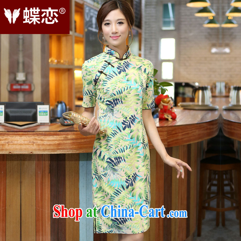 Butterfly Lovers 2015 spring new original innovation, China's Ethnic Wind female flax, in cuff manual buckle long cheongsam stamp duty 40,156 light green XXL
