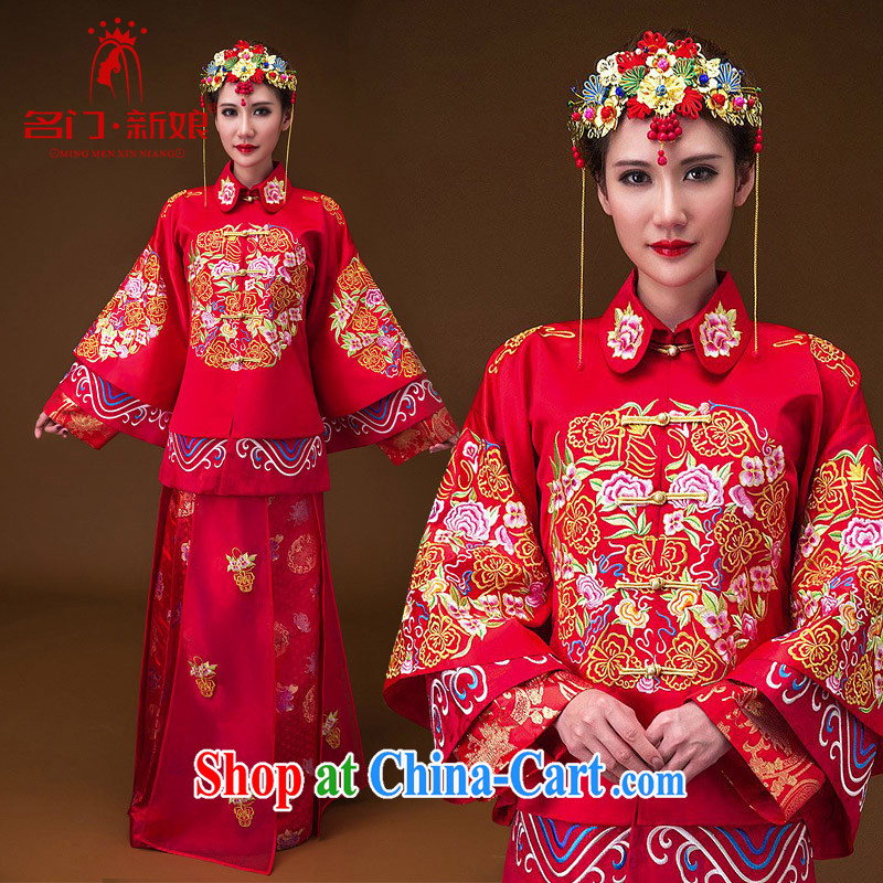 The bride's 2015 New-su Wo service wedding dresses red toast clothing industry embroidery Peony 656 L