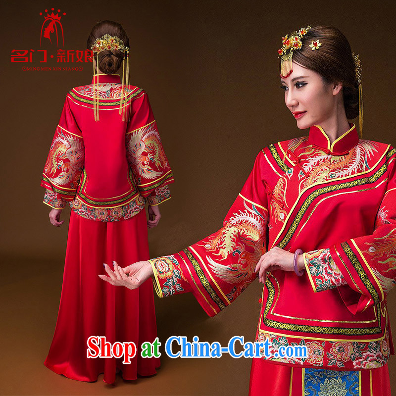 The bride's 2015 new show reel service Phoenix bows use Chinese Dress cheongsam classical red 654 L