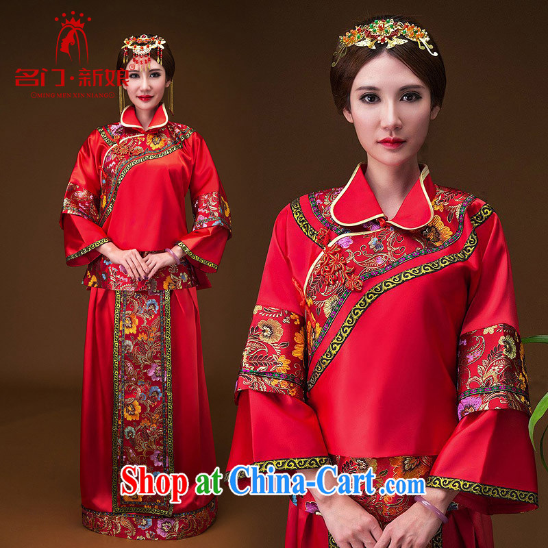 The bride's classic show kimono hand embroidery cheongsam dress classic wedding dresses 655 L