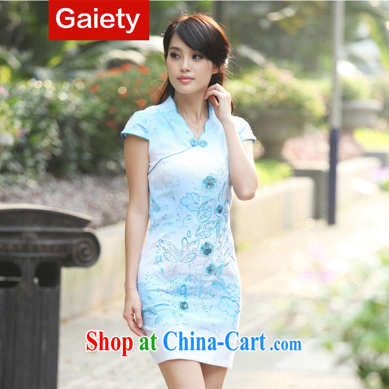 According Gaiety acajou (2014 summer new dress Stylish retro cheongsam dress dresses qipao BS A 7 6920 # blue XL