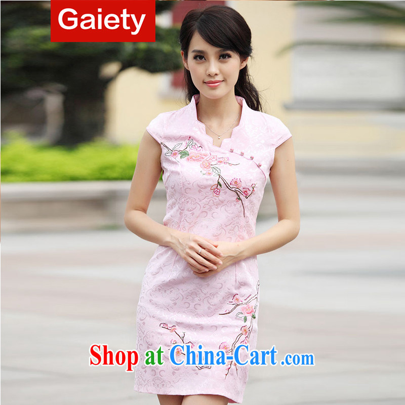 According Gaiety acajou _2014 summer new stylish retro stamp cultivating cheongsam dress BS A 7 6901 _ pink XL